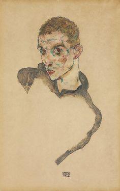 By Egon Schiele (1890-1918), 1914, Selbstbildnis gouache, watercolour and pencil.