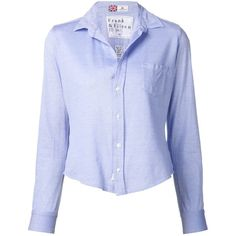 Frank & Eileen cropped shirt ($260) ❤ liked on Polyvore featuring tops, blue, crop top, blue cotton shirt, blue crop top, frank & eileen shirts and cotton crop top