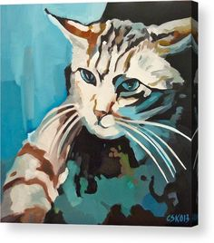 Cat Pictures Acrylic Print featuring the painting Icat by Carmen Stanescu Kutzelnig Thing 1, Framed Prints, Canvas Prints, Acrylic Sheets, Any Images, Got Print, Clear Acrylic, Fine Art America, Moose Art