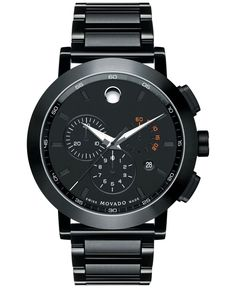 Movado Men's Swiss Chronograph Museum Sport Black Pvd Stainless Steel Bracelet Watch 44mm 0607001