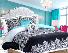 Teen Girls Bedding Damask Comforter SUPER SET Black and White Aqua Blue Teal