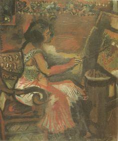 """Chagall, Pintor De Sonhos... """"O Modelo"""",1910, Coleção Ida Chagall:O artista escolheu como tema uma situação no atelier e, consequentemente,a reflexão de sua própria atividade.O modelo também segura um pincel e pinta o seu próprio quadro,como metáfora para um ambiente de criatividade,para um empenho artístico que se prolonga na vida cotidiana. As cores usadas ainda conservam as tonalidades escuras dos quadros russos."""