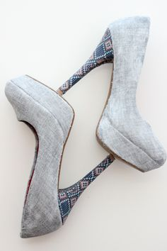 DIY fabric covered heels - This tutorial has some great notes on what fabrics to use to recover shoes.  This could be a fun way to customize wedding shoes.