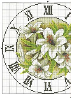 a cross stitch clock Cross Stitch Love, Cross Stitch Flowers, Cross Stitch Charts, Cross Stitch Designs, Cross Stitch Patterns, Cross Stitching, Cross Stitch Embroidery, Modern Embroidery, Gigli