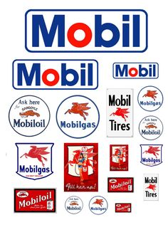 1:25 G scale Mobil Oil gas station signs