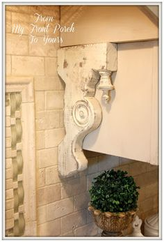 DIY Kitchen Makeover: Builder Grade to French Country Chic. Salvaged corbel detail <3.
