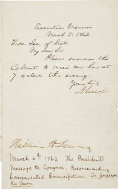 Autographs:U.S. Presidents, Abraham Lincoln Autograph Letter Signed... (Total: 1 Items)