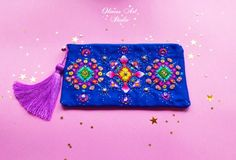 Colorful and Blue Embroidered bohemian bag,indian mandala zipper bag,ethnic pattern zipper pouch,Boh Embroidery Purse, Beaded Embroidery, Embroidery Stitches, Oriental Pattern, Ethnic Patterns, Embroidered Bag, Zipper Bags, Zipper Pouch, Summer Bags