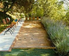 70 Totally Difference Summer Backyard Ideas & Landscaping Bocce court with folding chairs that are e Large Backyard Landscaping, Big Backyard, Backyard Playground, Backyard Games, Backyard Ideas, Outdoor Ideas, Landscaping Ideas, Garden Ideas, Outdoor Games