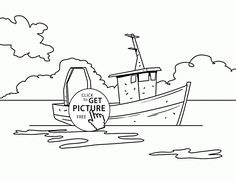 Small Fishing Boat coloring page for kids, transportation coloring ...