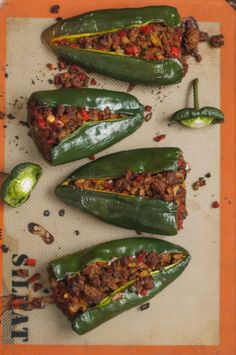 Taco Stuffed Poblano Peppers |A Finn In The Kitchen  make vegetarian w/ rice and lentils? Mushrooms and quinoa?