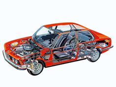 The cutaway drawing and its artists - Page 270 - The Nostalgia Forum Cutaway, Bmw Engines, Bmw E21, Bmw Classic Cars, Car Colors, Bmw 3 Series, Automotive Art, Car Engine, Rally Car