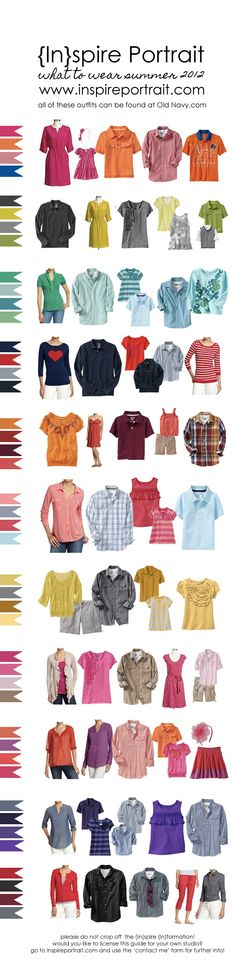 Clothing guide for family photos- gives some tips for clothing choice. The clothes are available at Old Navy. Family Photo Sessions, Family Posing, Family Portraits, Clothing Photography, Family Photography, Photography Tips, Photography Outfits, Fashion Photography, Family Photos What To Wear