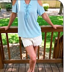 Sky blue cold shoulder lace up top! Beautiful sky blue woven relaxed fit cold shoulder lace up top! Tops