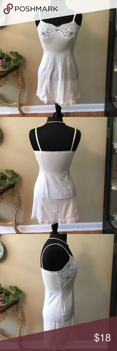 Full Length Lace Slip Size 32 Full Length Lace Slip Size 32. Adjustable straps. Gently Worn. 100% Antron Nylon. Lace trimmed bottom. 🚫trades. Please ask all questions prior to buying Intimates & Sleepwear Chemises & Slips