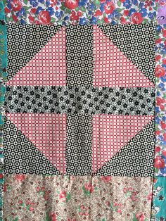 Vintage Shoo fly quilt top auctioned by evintage on eBay.