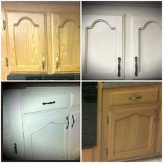 Redoing Kitchen Cabinets With General Finishes Antique White And Van Dyke Brown Glaze Check Out