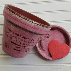 Personalized Pet Memorial Planters by HappyMooseGardenArt.Etsy.com