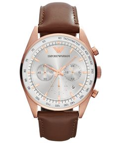 Emporio Armani Men's Chronograph Brown Leather Strap Watch 43mm AR5995 - Watches - Jewelry & Watches - Macy's