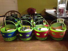 Teenage Mutant Ninja Turtle Birthday Goodie Buckets #jamester