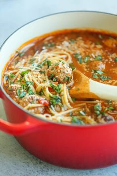 Classic Comfort Food Soup Recipes PopSugar 19 Soup-ified Versions of Your Favorite Comfort Foods Spaghetti is great, but spaghetti soup is even more comforting. Spaghetti Soup, Spaghetti And Meatballs, Mini Meatballs, Spaghetti Noodles, Meatless Meatballs, Fettuccine Noodles, Korma, Biryani, Soup Recipes