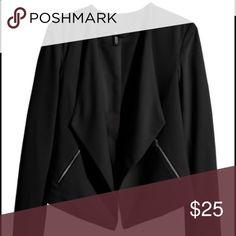 Black Crepe Waterfall Jacket Tuxedo/shawl collar. Open style. 2 front zipper pockets. EUC H&M Jackets & Coats
