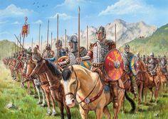 Aquí va una de una formación de caballería Bizantina, obra de Luke Foewoodson. Las dos primeras filas están formadas por jinetes con lanza, mientras que las posteriores están formadas por arqueros a caballo.