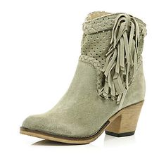 Light grey perforated western ankle boots £60.00
