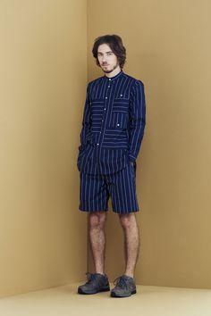 1S02 Multi-Pocket Stripe LS Shirt/1P01 Width Pleat Shorts