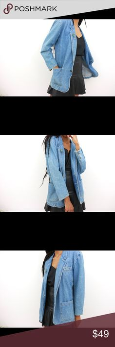 The Flyest-Extended Vintage Denim Blazer Details: Extended denim coat. Front  patch and slit pockets. Front button closure/ cuff button closures. Detachable shoulder pads. Artsy beaded figure brooch. Vintage. Unlined. Bust:42.5 Waist:38.5 Full Garment Length: 29.5 Marked Size: M Label: Custom Label Color: Blue Fabric: Cotton Condition/Care: Good(small orange stain above top front pocket)/Machine Wash Vintage Jackets & Coats Blazers