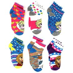 Disney Frozen Elsa, Anna, and Olaf Girls 6 pk Socks. Great gift for Valentine's Day or Easter! www.YankeeToyBox.com #yankeetoybox #ytb #disney #frozen #elsa #anna #olaf