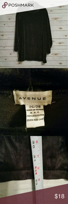 """Avenue Black velour cowl neck tunic Size 26/28 Avenue black velour cowl neck tunic.  Super soft and in excellent condition.   Size 26/28.  33"""" long and 30"""" under arms flat lay. Avenue  Tops Tunics"""