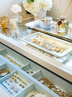 Closet island jewelry storage.