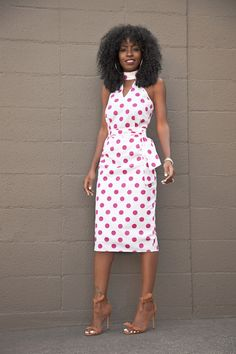 Polka Dot Halter Midi Dress