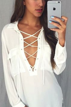 White Lace up Long Sleeve Pocket Blouse Top