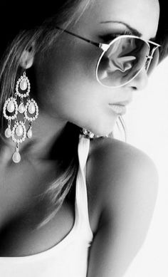 earrings. oversized sunnies