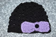 Black Crochet Baby Beenie with Bow size 03 month by ESCreations14, $15.00