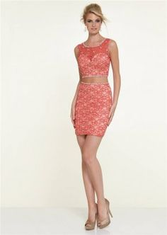 Mori Lee 9305 Coral Beade Lace Short Two Piece Prom Dress