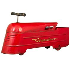 Art Deco Modernist Streamliner Ride on Locomotive Toy, 1937 by Marx | From a unique collection of antique and modern toys at https://www.1stdibs.com/furniture/more-furniture-collectibles/toys/