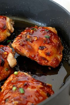 General Tso's Chicken Thighs- I would double the sauce next time and add bell pepper before putting in oven. Serve over brown rice.
