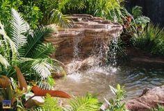 Garden Gnomes Etc sells Flat Rock Falls backyard pond & garden waterfalls kits, fish ponds, artificial rock waterfalls, outdoor water features & fountains. Backyard Pool Landscaping, Ponds Backyard, Tropical Landscaping, Landscaping With Rocks, Landscaping Ideas, Backyard Waterfalls, Tropical Garden, Landscaping Software, Bali Garden