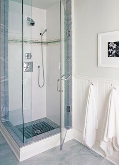 Sarah Richardson Design shower tile white with simple detail band. Hall Bathroom, Upstairs Bathrooms, Bathroom Renos, Master Bathroom, Bathroom Towels, Bathroom Vanities, Sarah Richardson Bathroom, White Tile Shower, Glass Shower