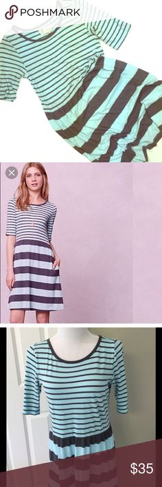 """•Harper•Striped•Day•Dress• •By Saturday Sunday for Anthropologie• a jersey day dress with a simple silhouette you can throw on with a top knot & flats & be out the door in 5 min flat• pullover styling• cotton• 35""""L• some minor piling under arms from normal wear• smoke free• dog friendly home• Anthropologie Dresses"""