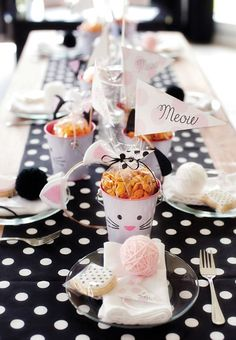 Adorable cat themed birthday party! Love the black and white polka dots paired with soft shades of pink. Adorable.