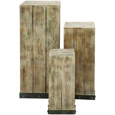 Set of 3 wood and metal block plant stands with natural finishes.     Product: Small, medium, and large plant stand...
