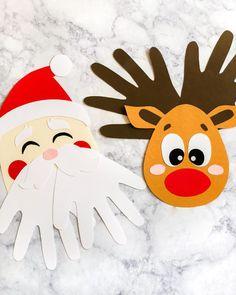 handprint Christmas Crafts Best Christmas Crafts for Kids, Christmas Crafts Ideas, Christmas Home Decorations Santa Handprint, Christmas Handprint Crafts, Christmas Arts And Crafts, Christmas Diy, Christmas Ornaments, Christmas Decorations, Christmas Candy, Kindergarten Christmas Crafts, Reindeer Christmas