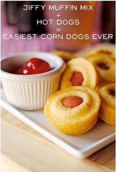 Easy DIY corn dog muffins. Jiffy mix, hot dogs (cut up) and greased muffin pan. Cook on 350 till jiffy mix is golden brown.