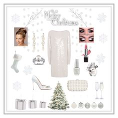 """Christmas Party Winter White"" by marnie1979 ❤ liked on Polyvore featuring Frontgate, A by Amara, INC International Concepts, Simone Rocha, Miadora, Avon, OPI, Viktor & Rolf and Casadei"