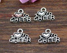 40pcs-I love to cheer charms, Antique tibetan silver Cheerleader Charm pendants, Cheer, Cheerleading 14x10mm