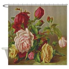 Vintage Flowers Shower Curtain on CafePress.com